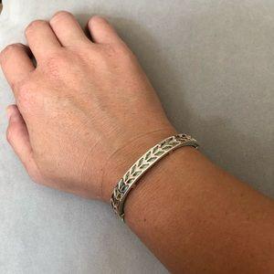 Stella & Dot mint leather and silver bracelet